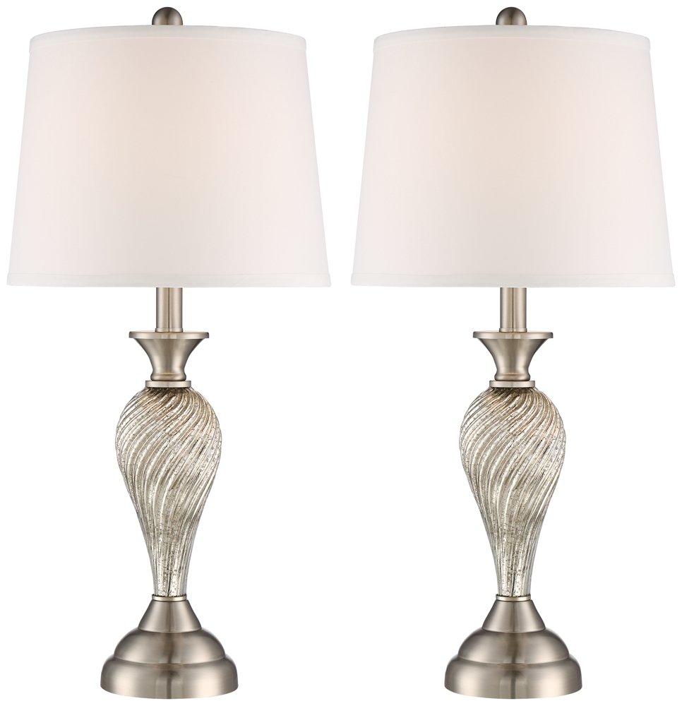 Arden Brushed Steel Twist Column Table Lamp Set of 2