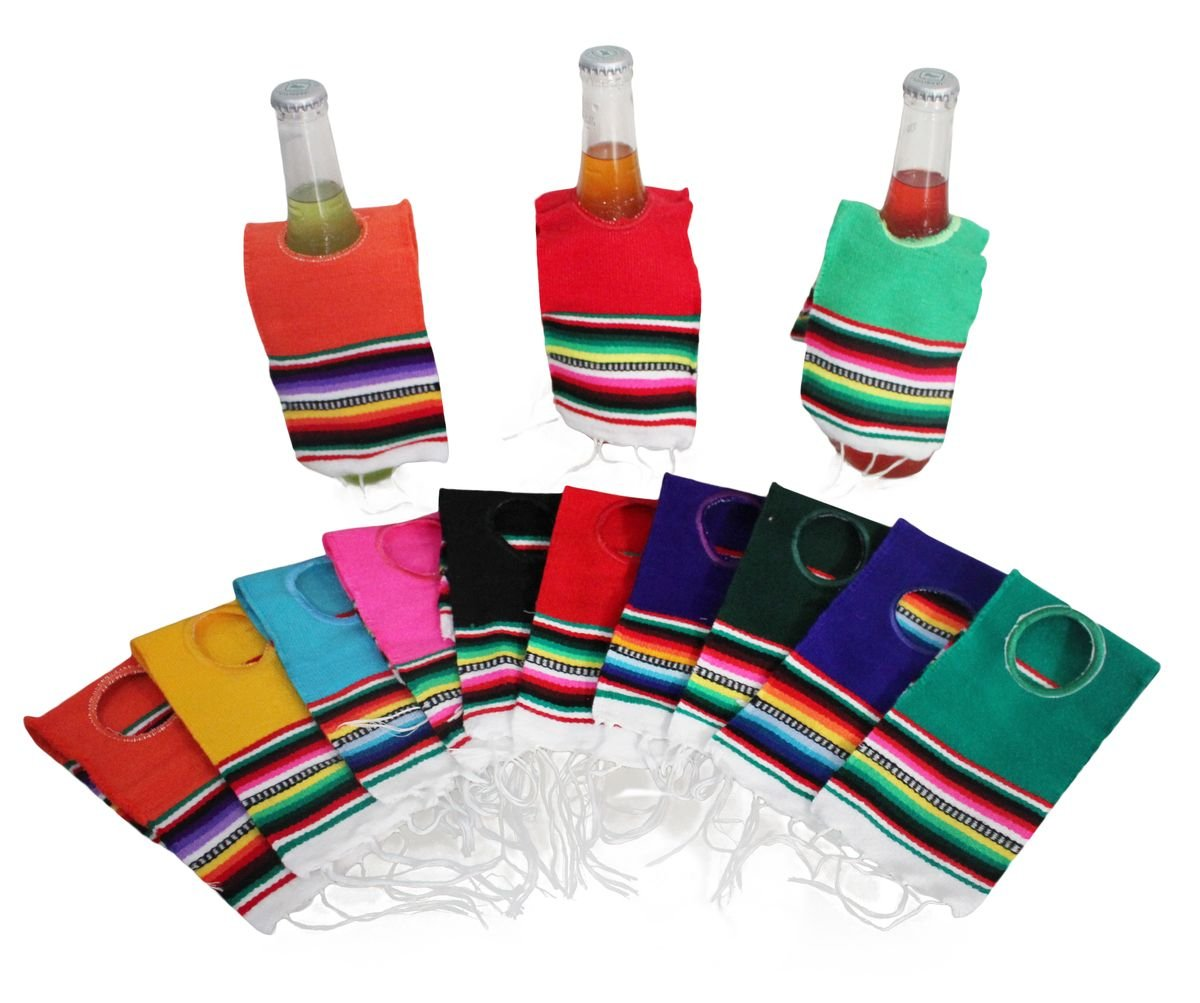 Del Mex 10 PACK Mini Mexican Serape Poncho Beer Bottle Drink Cover (Assorted)