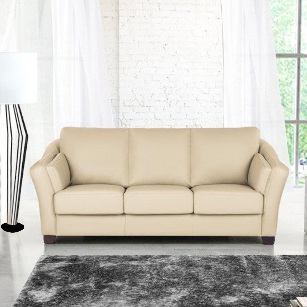 Furny Casagrande 3 Seater Leather Sofa (Cream)