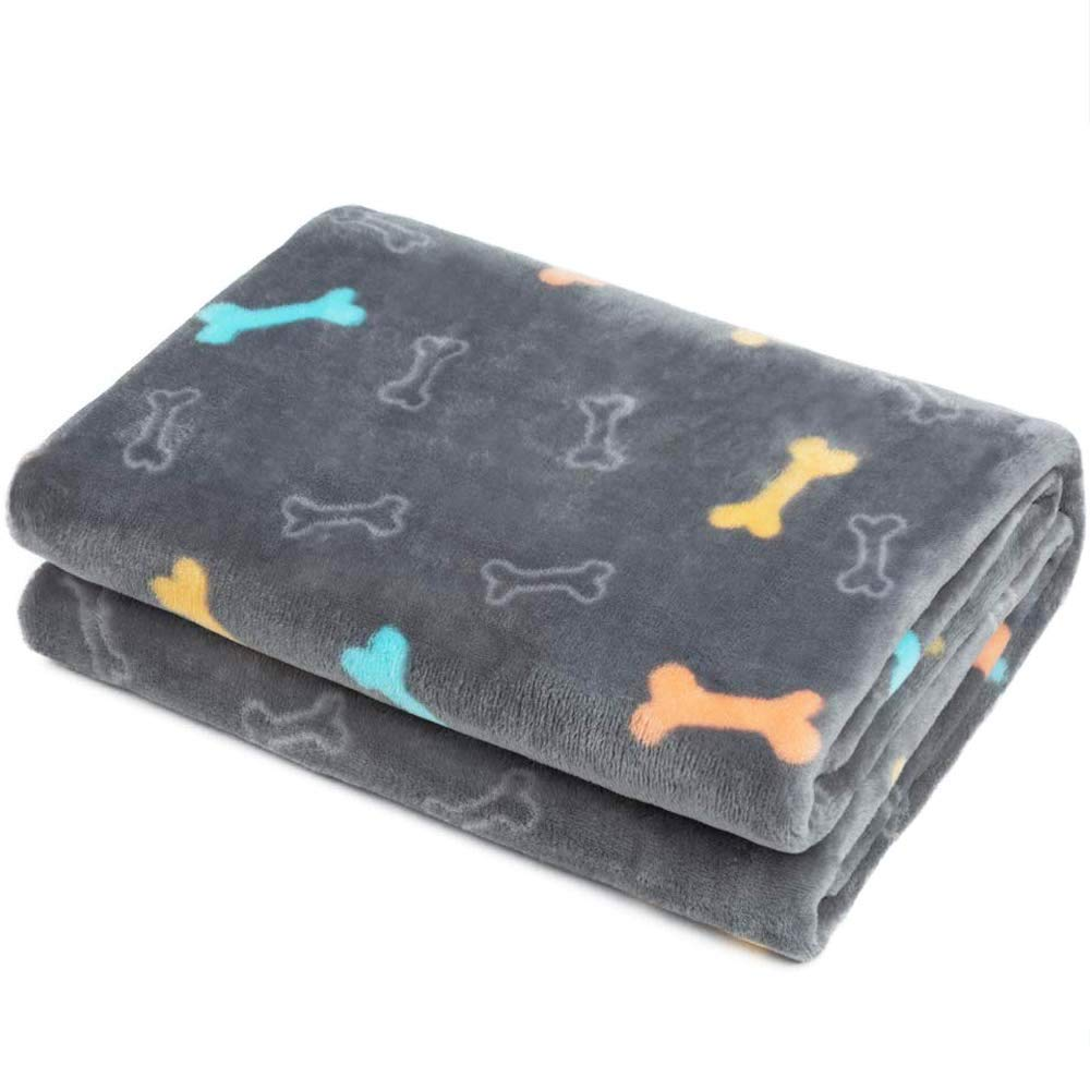 Allisandro Fluffy Pet Dog Blanket - Machine Washable - Durable and Quilted Plush Puppy Cat Blanket - Soft and Warm Flannel Fleece Blanket - Suit for Small Medium Large Pets, Grey 31x24