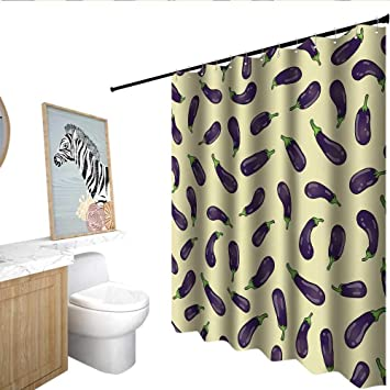 Homecoco Eggplant Shower Curtain With Hooks Eggplants And Light Yellow Background Fresh Delicious Meals Lunch Dinner