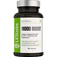 LES Labs Mood Boost, Anxiety Relief Supplement, Stress Relief, Mood Enhancer & Sleep Aid with 5-HTP, Ashwagandha, Rhodiola Rosea & GABA, 60 Capsules