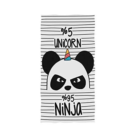 Amazon.com: Naanle Cute Ninja Panda with Unicorn Horn Stripe ...