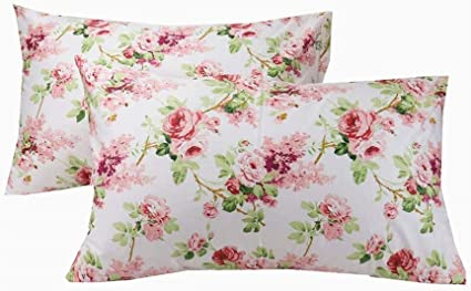 Yih 2 Piece White Pillowcase Set For Hair And Skin Standard Size 50 X 80 Cm 100 Cotton Floral Pillow Case Covers Amazon Co Uk Kitchen Home