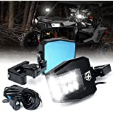 """Xprite UTV Side View Mirrors Aluminium w/ LED Spot Lights Clear Lens Compatible with 1.5""""-2"""" Roll Cage Bar for Pioneer Polari"""