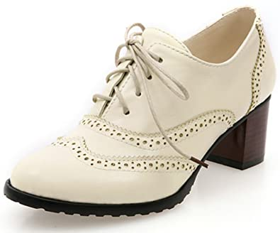 ead86d38d Amazon.com | Summerwhisper Women's Stylish Round Toe Brogue Oxfords Pumps  Shoes Lace-up Block Mid Heel Ankle Boots | Ankle & Bootie