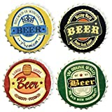Boston International Resin Coasters, Bottle Cap-Shaped Set of 4, Beer Bottle Tops