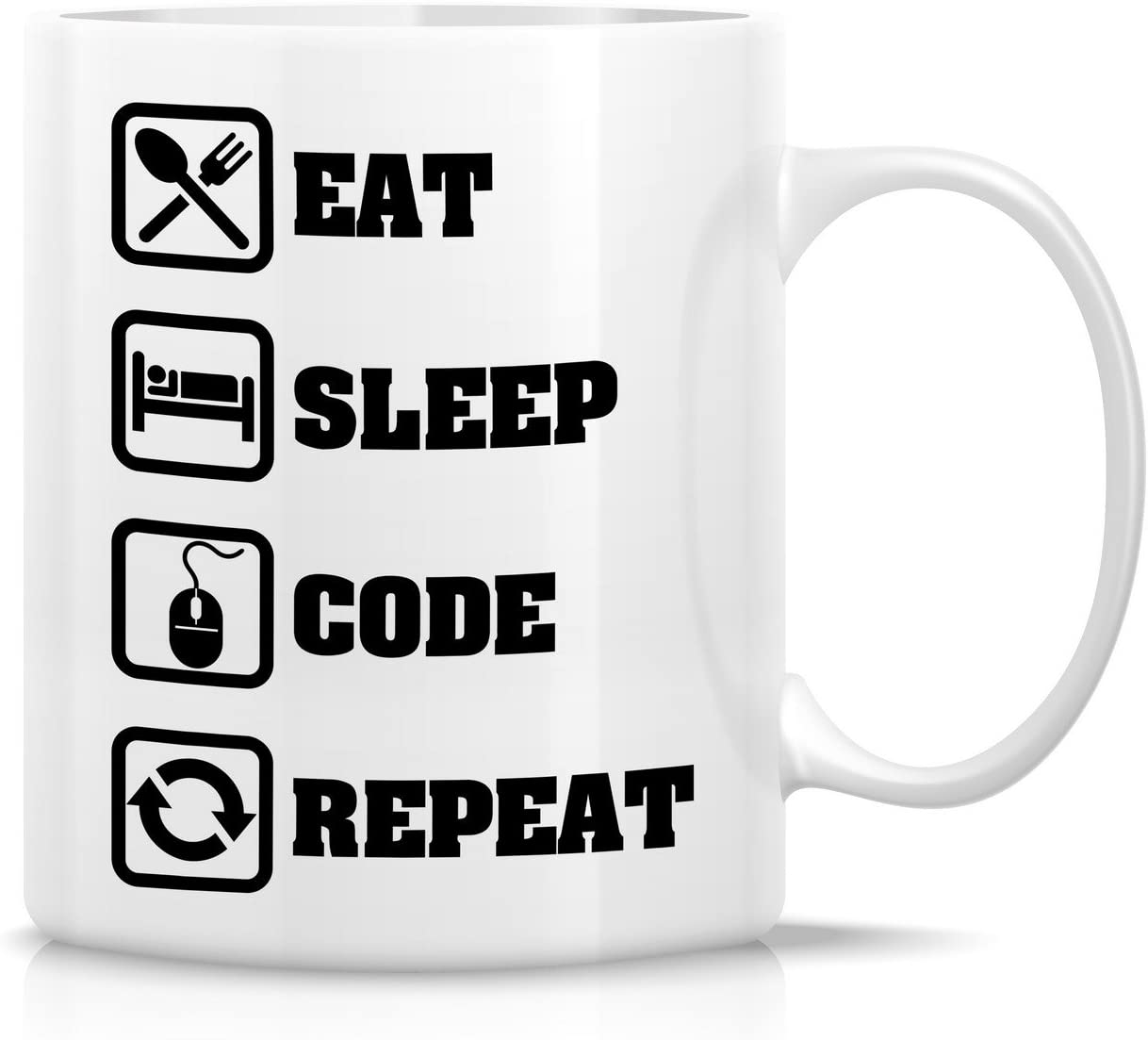 Retreez Funny Mug - Eat Sleep Code Repeat Programmer Software Engineer 11 Oz Ceramic Coffee Mugs - Funny, Sarcasm, Sarcastic, Inspirational birthday gifts for friends, coworkers, siblings, dad, mom.