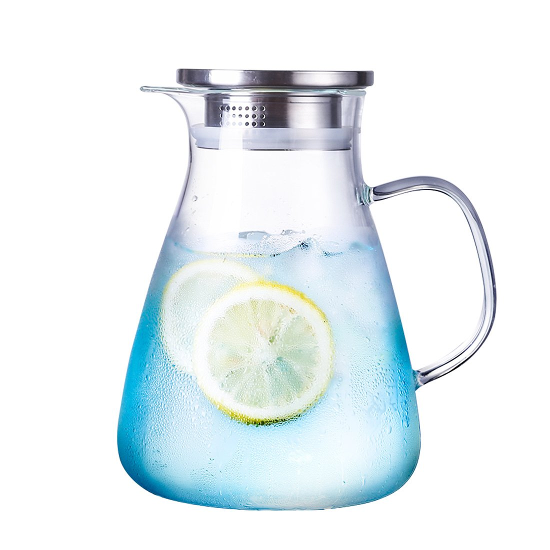 ONEISALL 54.5 Ounces Borosilicate Glass Carafe with Stainless Steel Lid,Iced Water Pitchers with Handle,Water Jugs for Handmade Juice Beverage,Hot/Cold Water and Ice Tea.