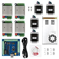 SainSmart CNC 4-Axis Kit with TB6560 / TB6600 Motor Driver, Paralle Interface / USB Interface Breakout Board, Nema23 270 Oz-in Motor and 24V Power Supply by SainSmart