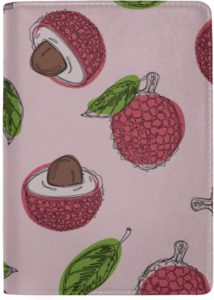 Delicious Pink Ripe Red Litchi Blocking Print Passport Holder Cover Case Travel Luggage Passport Wallet Card Holder Made With Leather For Men Women Kids Family