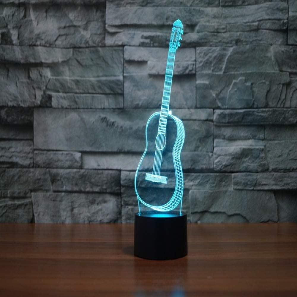 Childrens Room Decoration lamp/& Led Illusion Lamp Night Light Ukulele Visual Illusion Lamp Table Desk Lamps 7 Color Change Home Decor Touch Color : Touch