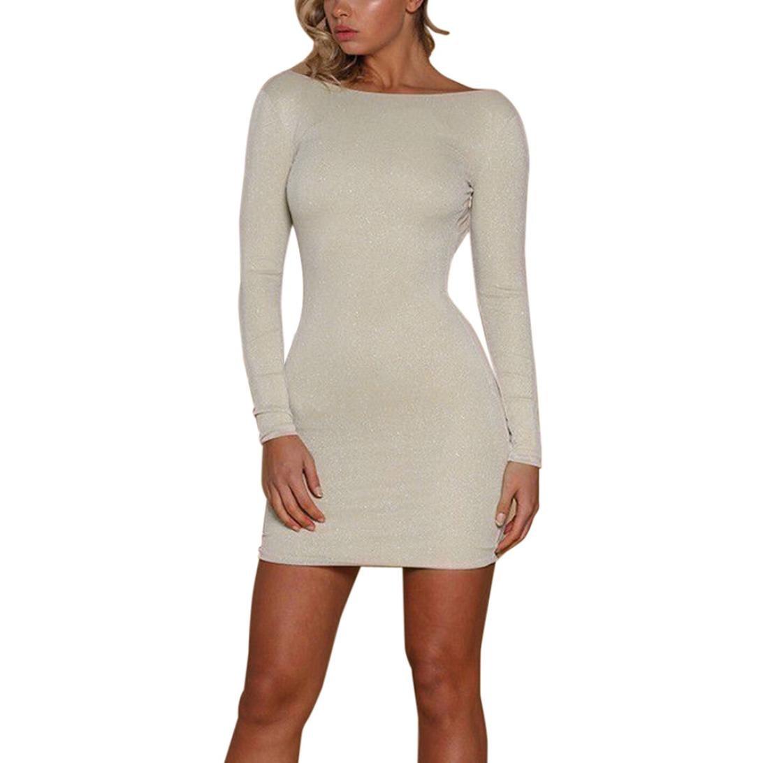 77524a817cf49 Hunzed Women Dress, Fashion { Sexy Blackless Party Dress } Casual { Shiny  Bodycon Dresses } Lady { Club Mini Dress } at Amazon Women's Clothing store: