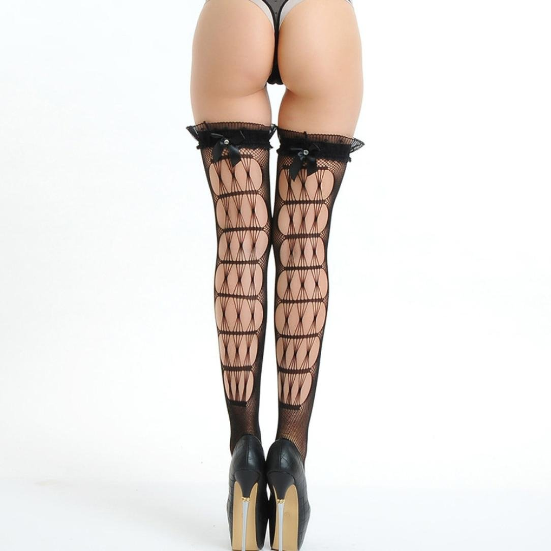b7b431df2 Amazon.com  Malbaba Women s Fishnet Thigh High Stockings with Back Seam and  Silicone Lace Top Black  Clothing