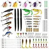 PLUSINNO Fishing Lures Baits Tackle including Crankbaits, Spinnerbaits, Plastic worms, Jigs, Topwater Lures , Tackle Box and More Fishing Gear Lures Kit Set, 102Pcs Fishing Lure Tackle from PLUSINNO