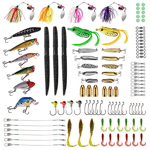 PLUSINNO Fishing Lures Baits Tackle including Crankbaits, Spinnerbaits, Plastic worms, Jigs, Topwater Lures , Tackle Box and More Fishing Gear Lures Kit Set, 102Pcs Fishing Lure Tackle Tackle Spinnerbait Bait