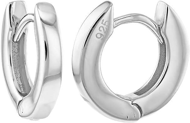925 Sterling Silver Plain Simple Huggie Hoop Earrings