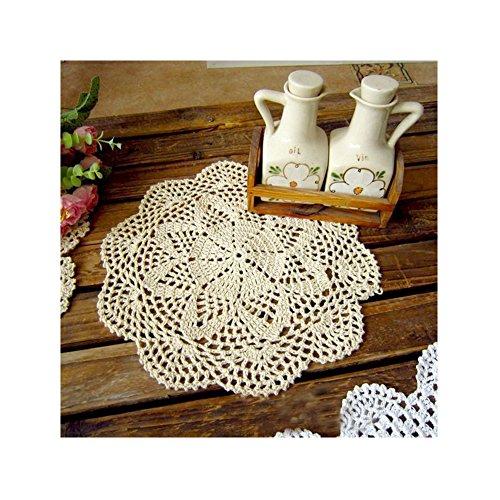 Aspire 4 pcs 12 inches Beige Crochet Cotton Lace Table Placemats Doilies Value Pack - B Beige ()