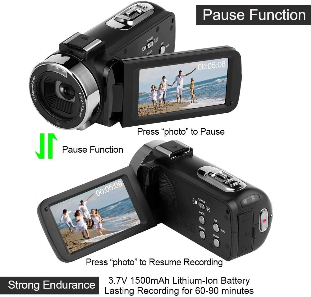 Videocámara 4K Cámara de Video WiFi Videocamara con micrófono Full ...