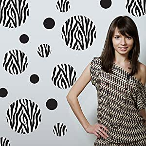 Zebra Print Wall Decals Large Dots Repositionable Peel and Stick