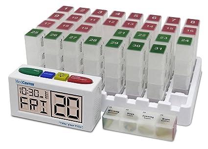 MedCenter Systems - Caja Organizadora De Pastillas Mensual Con Recordatorio De Alarma Con Voz – El