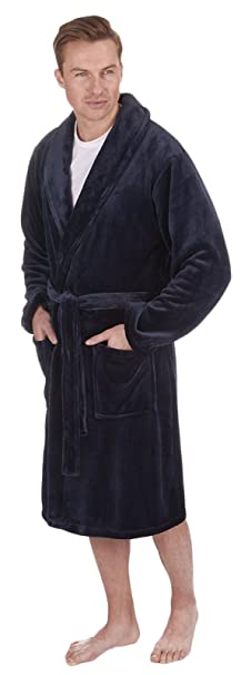 LD Outlet Lujo para hombre (longitud completa terciopelo forro polar bata albornoz Housecoat Robes + cinturón talla S- XL: Amazon.es: Ropa y accesorios