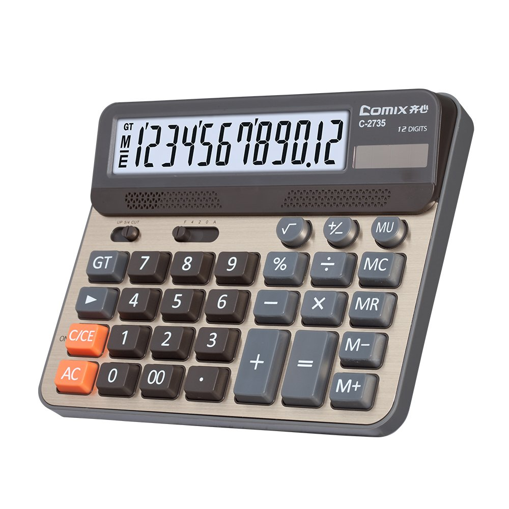 Comix Desktop Calculator, Large Computer Keys, 12 Digits Display, Champaign Gold Color Panel, C-2735