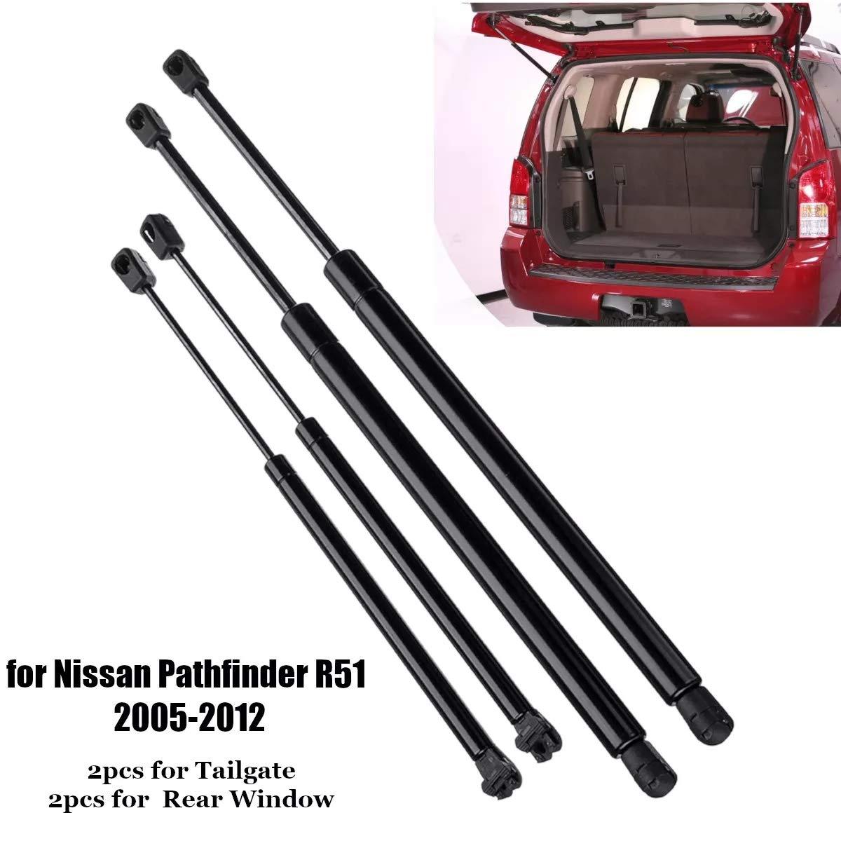 4 barras de elevaci/ón de gas para ventanilla trasera de coche para Nissan Pathfinder R51 2005-2012 COD