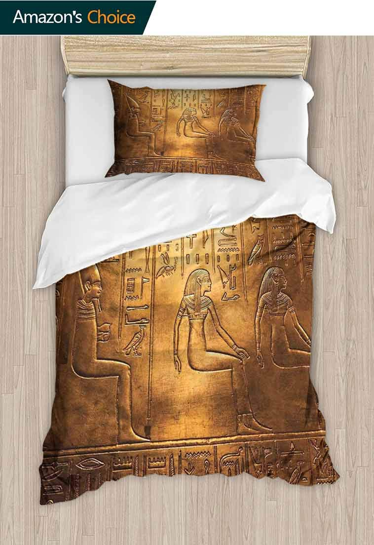 Egyptian DIY Quilt Cover and Pillowcase Set, Egyptian Hieroglyphics Old Texts Logographic and Antique Alphabetic Elements, Reversible Coverlet, Bedspread, Gifts for Girls Women, 79 W x 90 L Inches by carmaxshome