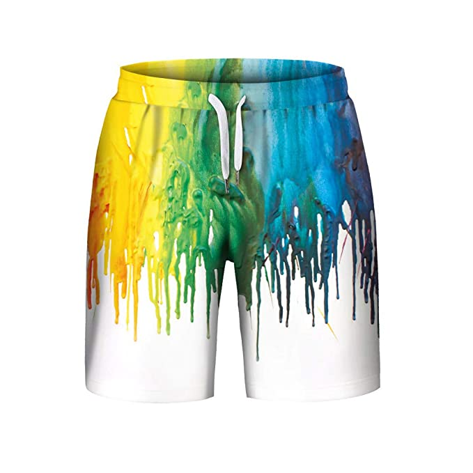 Short Pants Summer Casual with Drawstring Plus Size 3D Printed iCODOD Mens Shorts