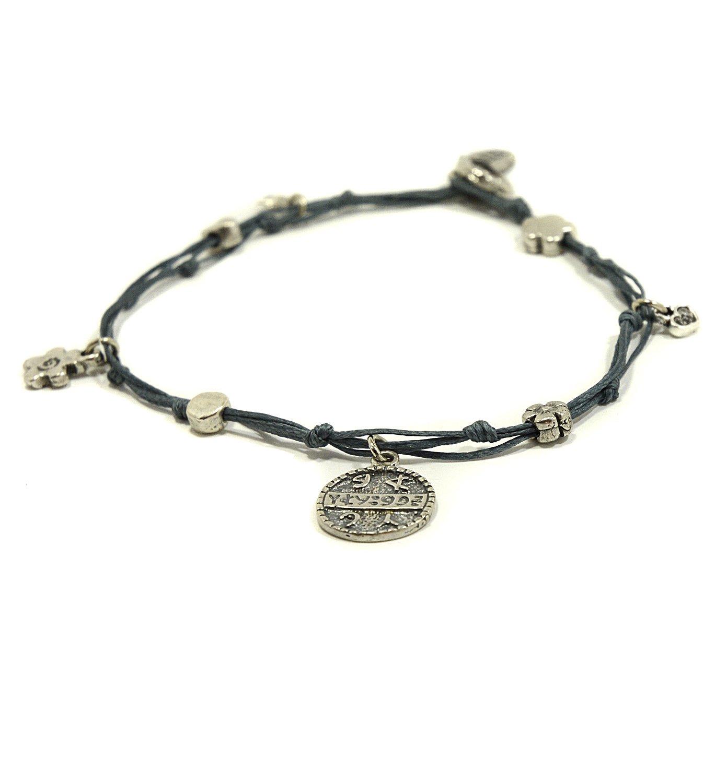 MIZZE Made for Luck Sterling Silver Health King Solomon Seal Charm Ankle Bracelet in Denim Blue