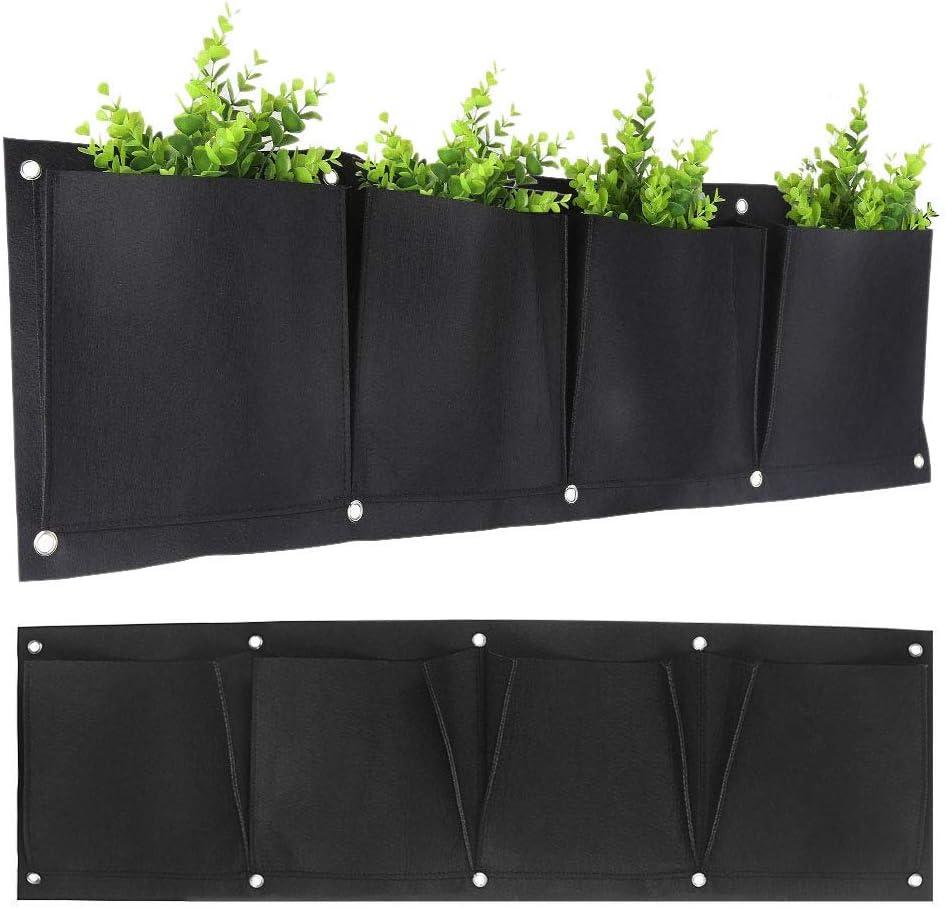 LERTREE 4 Pockets Garden Wall Planter Horizontal Flower Plants Hanging Planting Growing Bag 39.4 X11.8 Inch