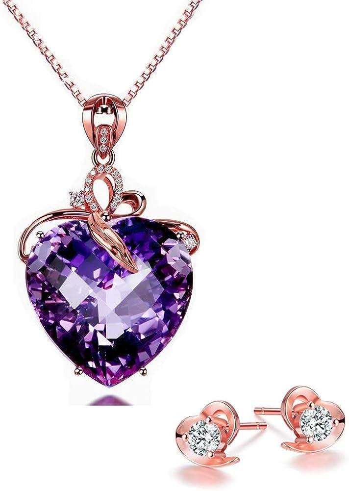 Lv.unique Collar de Amatista en Forma de corazón para Mujer Oro 18K Colgante de Piedras Preciosas Color Oro/Cadena de clavícula de Oro Rosa Exquisito