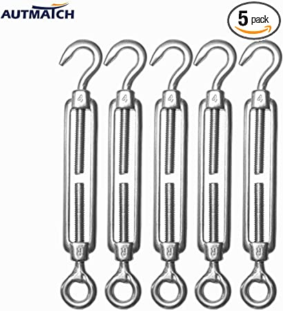 5pcs Strong Durable Stainless Steel Outdoor Tent Rope Tightening Spring Tool