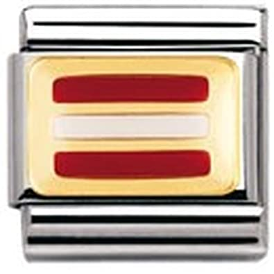 Nomination Composable Classic Flags of Europe Austria Stainless Steel, Enamel and 18K Gold