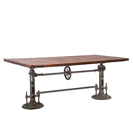 World Interiors ZWAT38 Reclaimed Teak And Iron Adjustable Dining Table