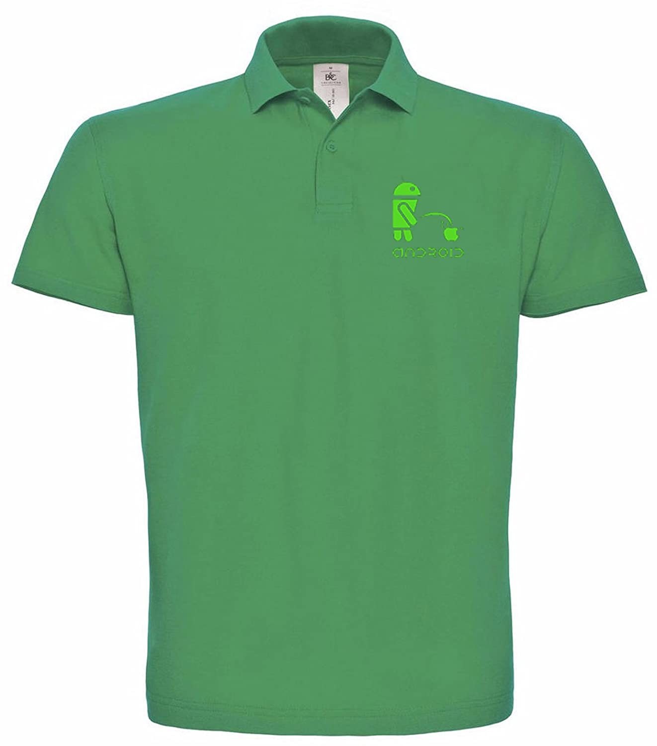 really premium quality 100/% cotton -038 different colours APPLE vs ANDROID embroidered fun Poloshirt