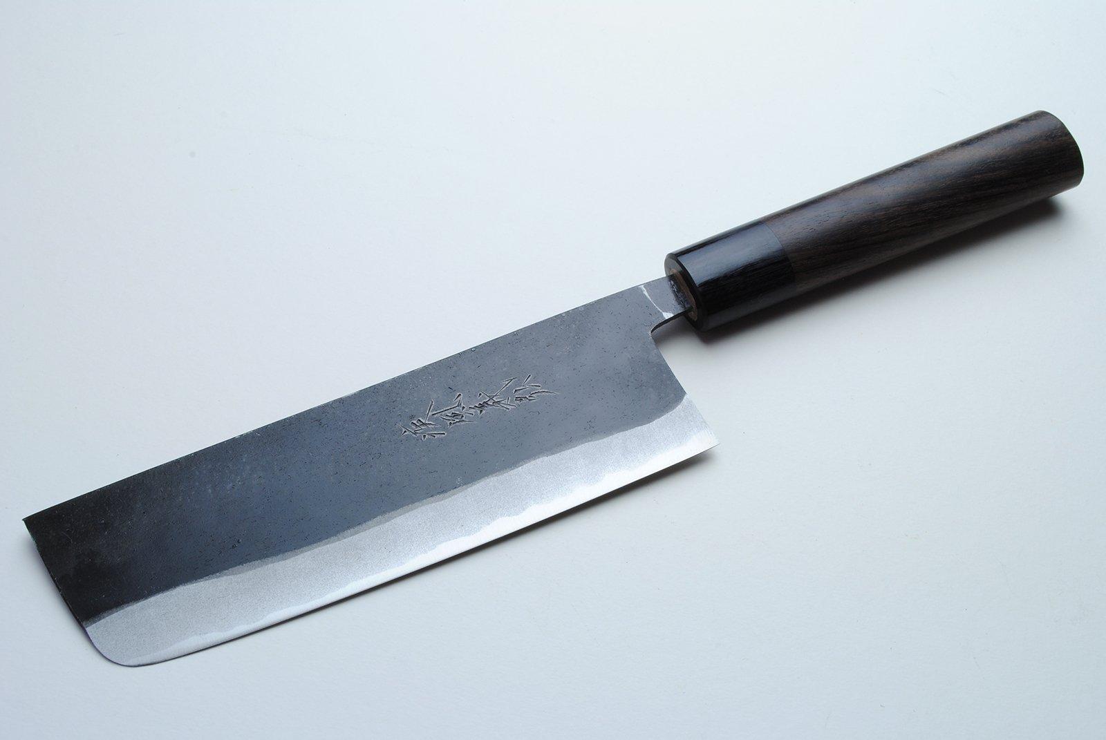 Yoshihiro Mizu Yaki Aogami Super Blue High Carbon Steel Kurouchi Usuba Chef's Knife 6.5 In