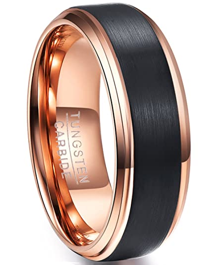 96dc07fdcc3 NUNCAD Classic Tungsten Wedding Ring for Men 8mm Brushed Finish Rose Gold  Plated Comfort Fit Size