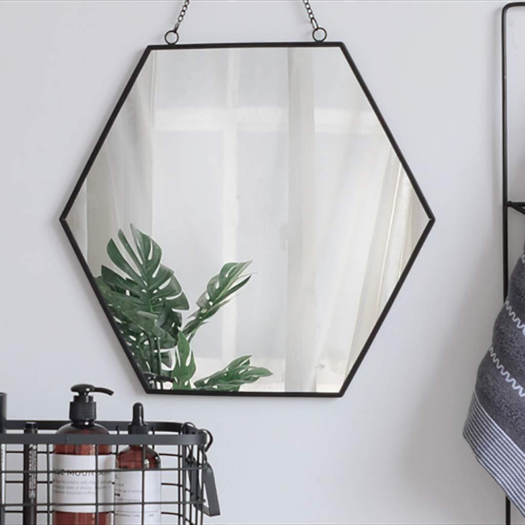 SDK Miroir de Rasage Mural Hexagone Cadre de Fer Miroir de Salle de Bains Moderne avec cha/îne en Fer lani/ère Tenture de Fixation Mat/ériel de Fixation Noir