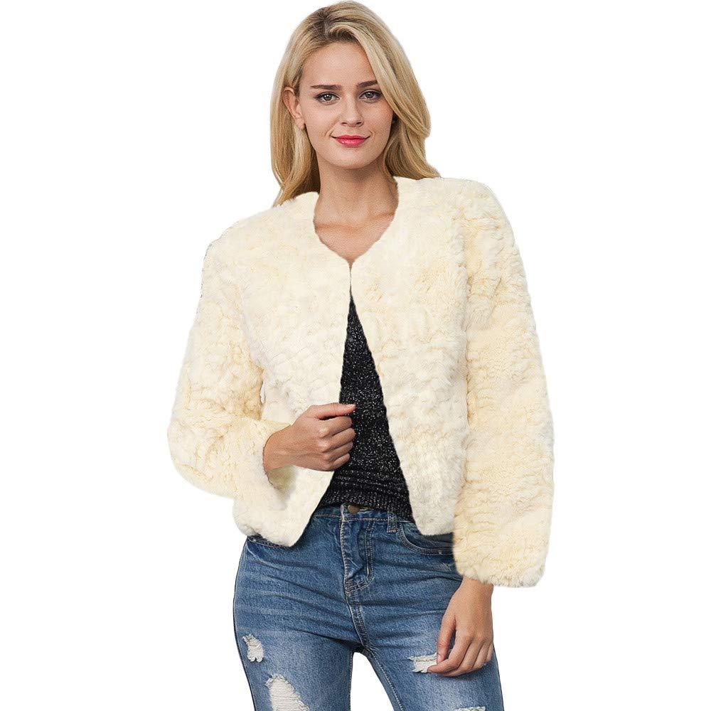 Kemilove Womens Fleece Faux Fur Casual Open Front Jacket Coat Outerwear