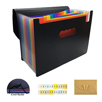 Organizador de archivos SAIYU A4 12 bolsillos Carpeta de archivo desplegable con funda Soporte de documentos