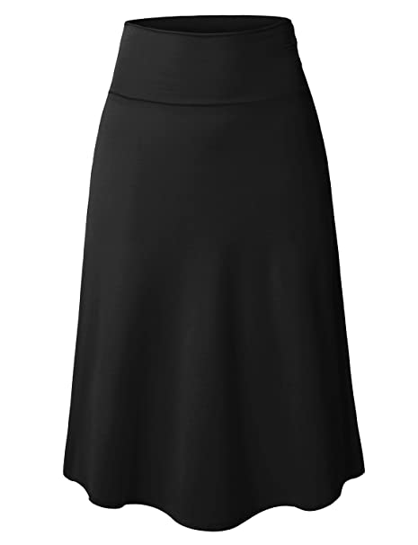 LE3NO Womens Plus Size High Waisted Midi Skirt with Stretch