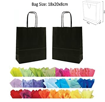 X 10 BLACK GIFT BAGS WITH MATCHING TISSUE PAPER