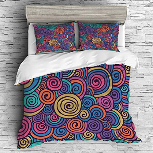 SCOCICI Queen Size Duvet Cover Set/Abstract,Hand Sketcked Circles in Retro Inspired Style Abstract Sixties Art Hippie Vibes,Multicolor / 3 Piece Bedding Set