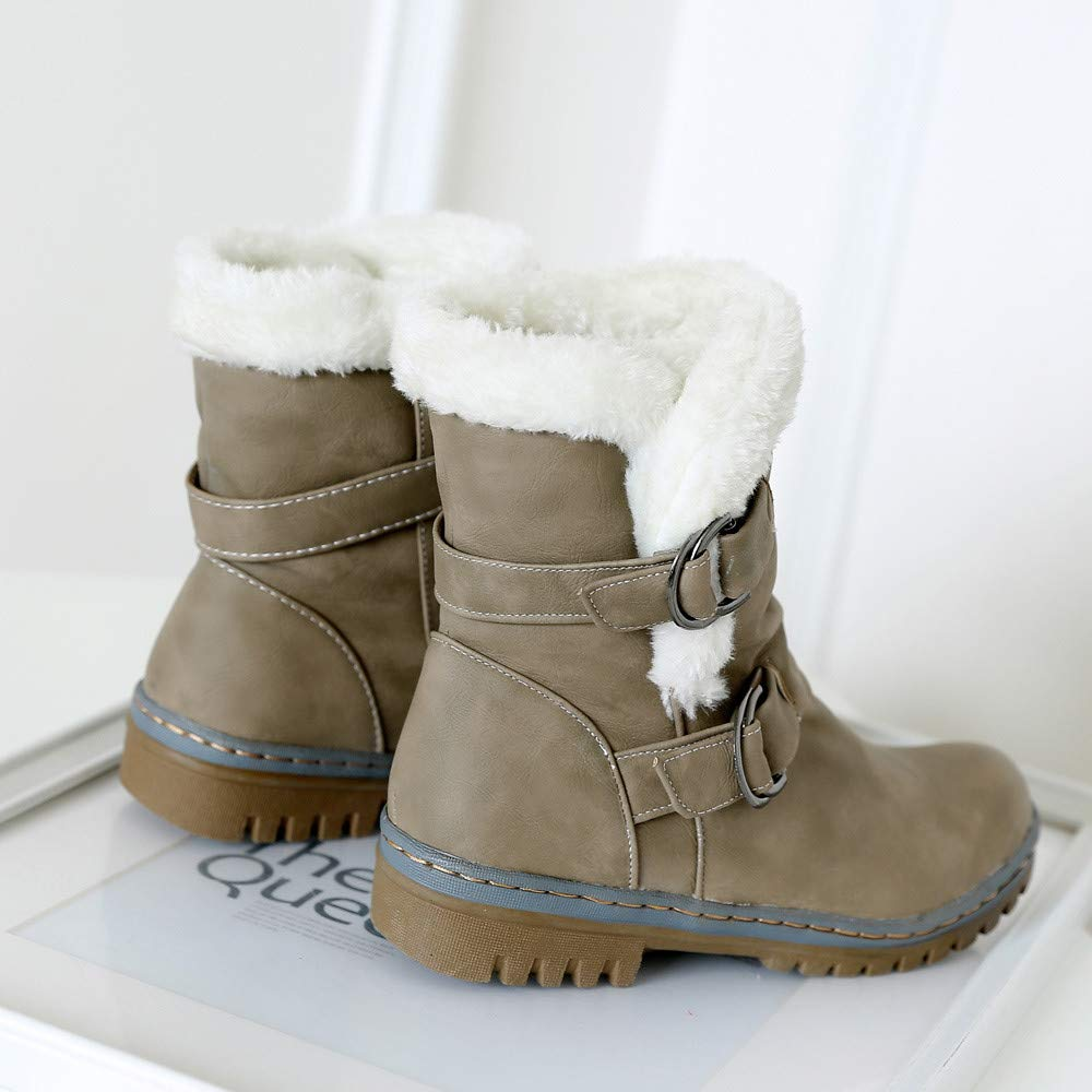 YiYLunneo Womens Classics Winter Snow Boots Buckle Warm Mid-Calf Fur Lined Short Boots Outdoor Ankle Booties