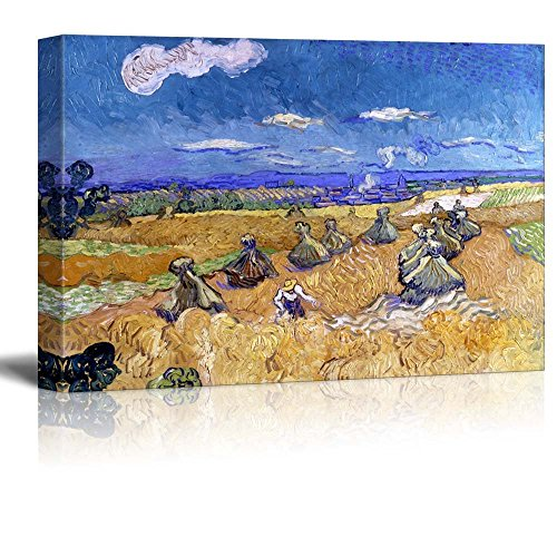 Wheat Fields with Reaper Auvers by Vincent Van Gogh Print Famous Oil Painting Reproduction