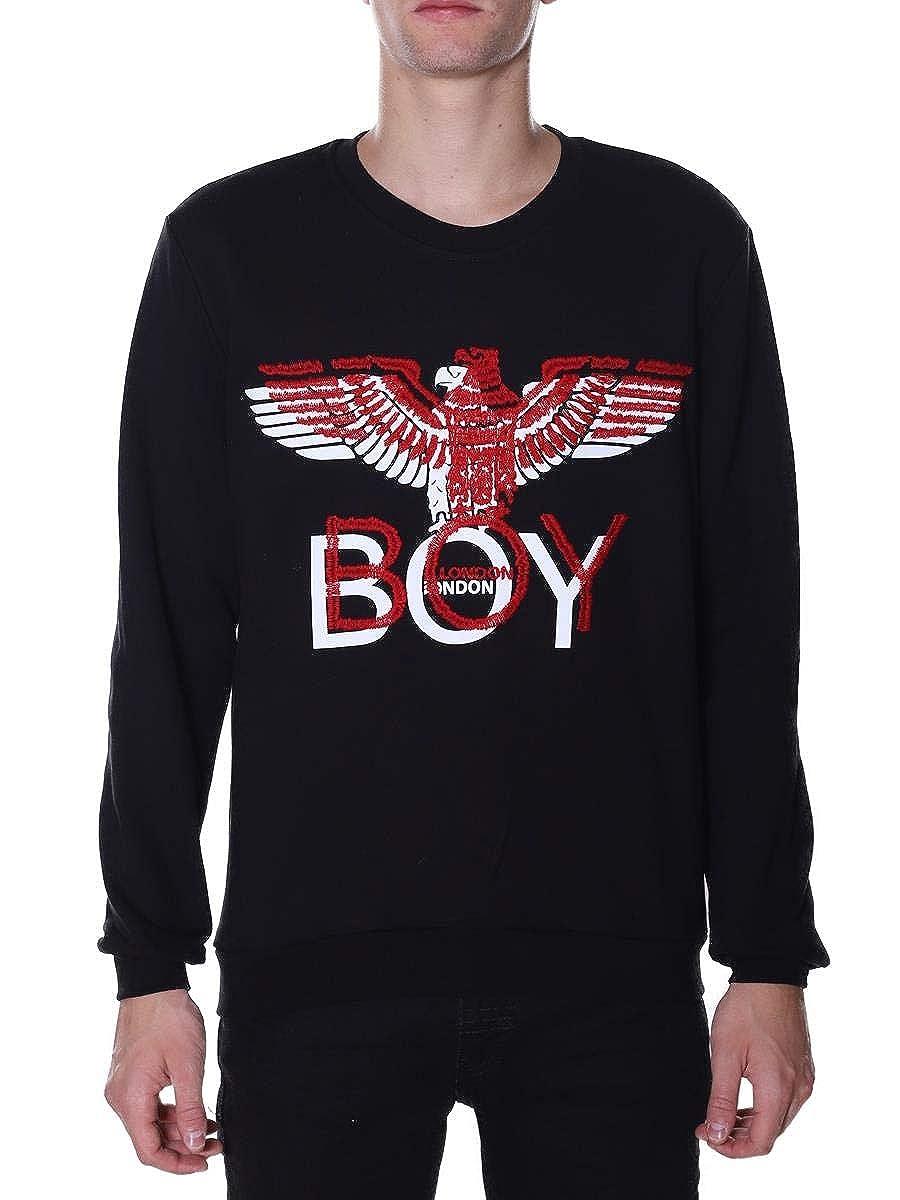 Boy London Felpa Girocollo Con Manica Lunga e Logo BLU5087NERO