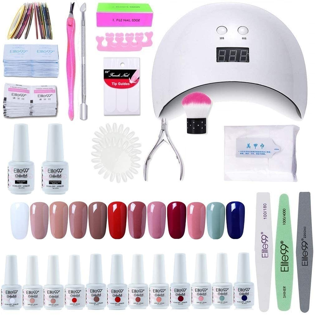 Elite99 Lámpara UV LED para Uñas 24w, 12 Colores Kit de Esmaltes Semipermanentes en Gel UV LED, Base y Top Coat, Removedor de Uñas 002