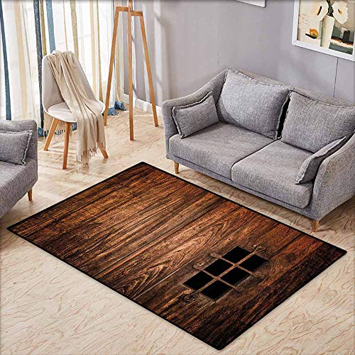 Large Door mat,Medieval Decor Collection,Historic Medieval Window Secured with Iron Bars Castle Old Building Picture,Super Absorbs Mud,4'7
